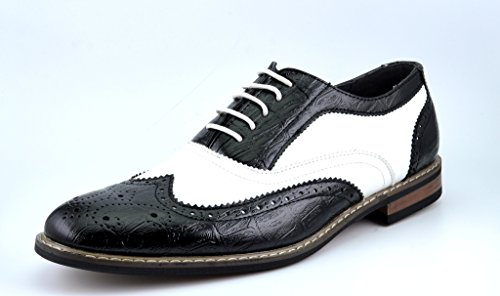 Bruno HOMME MODA ITALY PRINCE Men's Classic Modern Oxford Wingtip Lace Dress Shoes