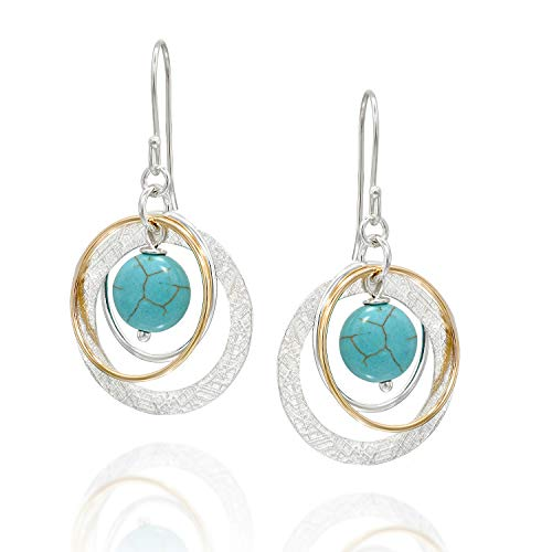 (Multi Hoops Compressed Turquoise Dangle Earrings Two Tone 925 Sterling Silver & 14k Gold-Filled Circles)