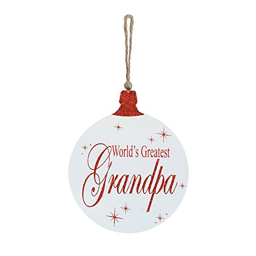 Worlds Greatest Grandpa Ball Ornament Shape 6 x 4.5 Wood Wall Plaque with Rope