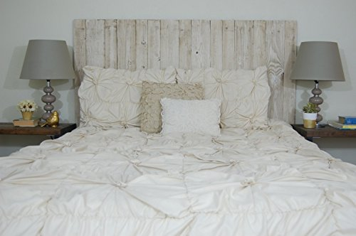 Whitewash Weathered Look - Full Size Hanger Handcrafted Headboard. Mounts on Wall. Easy Installation.