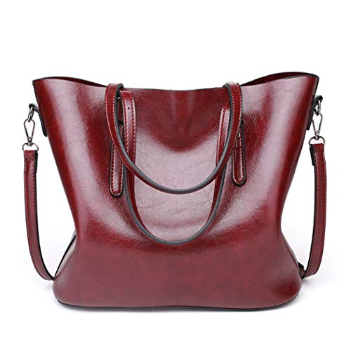 Bags Tote for Leather Bag Wine Cross Shopper Hobo Strap Body with Satchel Travel Women Handbags for Ladies Retro Wax Shoulder Work Bags fwZ0qxpv