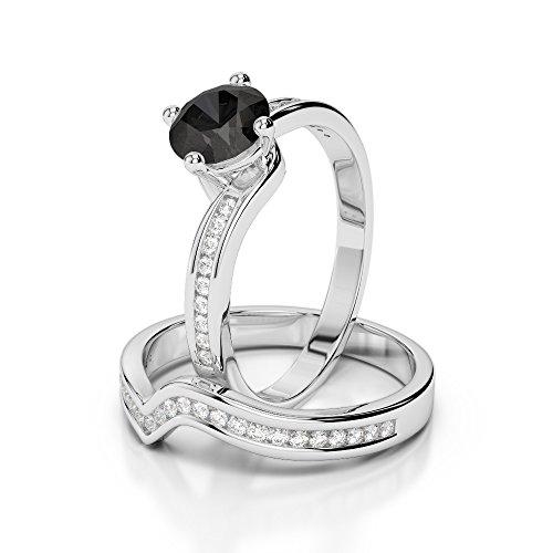 Or blanc 18carats 1CT G-H/VS sertie de diamants ronds Coupe Noir de mariage Bague de fiançailles et ensemble de Agdr-2005
