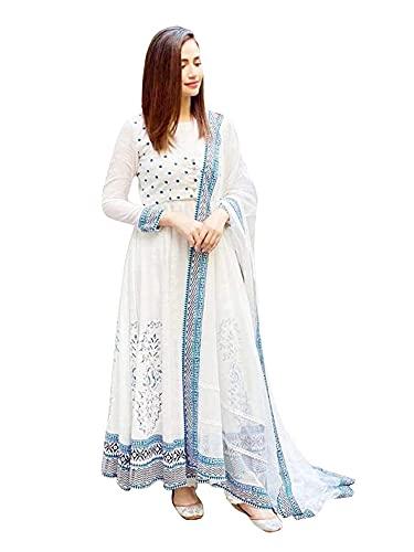 AESTHETIC PARADIGM Women's Soft Rayon Printed White Color Anarkali Kurti with Dupatta