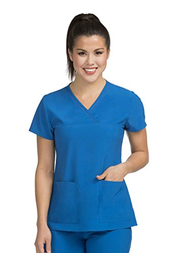 Crossover Neckline Scrub Top - Med Couture Women's 'Activate' Fluid Crossover Neckline Scrub Top, Royal, X-Small