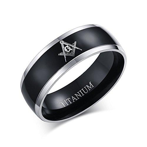 (MPRAINBOW Titanium Master Masonic Symbol Wedding Band Ring Free Mason Comfort Fit Ring Black)