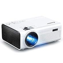Crosstour Videoproyector, Mini Proyector portátil, Full HD 1080P, Compatible con HDMI/USB/TV Box/AV/VGA/PC/PS4 y teléfono Compatible