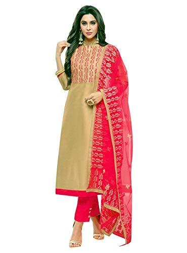 ladyline Designer Silk Embroidered Salwar Kameez with Embroidered Nett Dupatta Partywear Ready to wear (Size_42/ Beige)