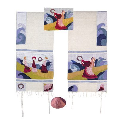 Yair Emanuel Embroidered Raw Silk Tallit Prayer Shawl Set - Miriam and the drum - Size: 17'' x 75'' by Yair Emanuel