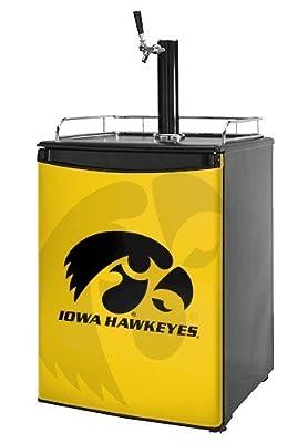Kegerator Skin - Iowa Hawkeyes Herkey Black on Gold (fits medium sized dorm fridge and kegerators)