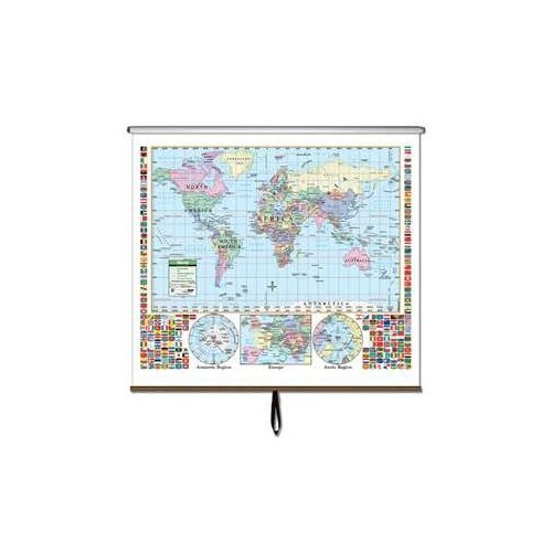 Map Wall Primary - World Primary Classroom Wall Map on Roller