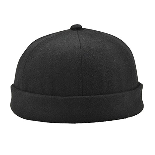 Ez-sofei Men's Retro Chinese Style Solid Color Rolled Cuff Skull Caps Brimless Beanie Hat -