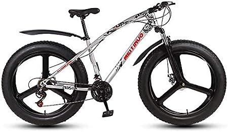 QZ Mens Adultos de Grasa neumático de la Bici de montaña, Bicicletas Variable Speed Nieve, Doble Disco de Freno Playa Crucero Bicicletas, 26 Pulgadas de aleación de magnesio Integrado Ruedas: Amazon.es: Deportes