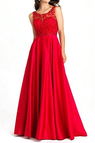 La_mia Braut Bodenlang Satin Abendkleider Brautmutterkleider Jugendweihe Kleider Langes A-linei Formal Kleider Rot raGvXF