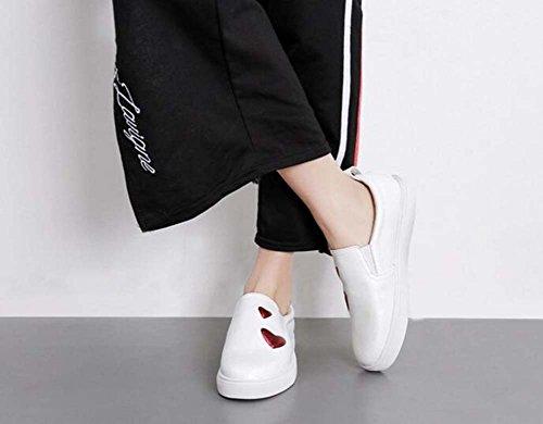 elástico forma los casuales perezosos tamaño los blancos 40 zapatos en simple dedo resbalón planos pequeños mujeres del Blanco bombean Eu del zapatos Las 34 pie amor del venda qIwaU7x