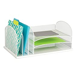 Safco Products 3254WH Onyx Mesh Desktop Organizer with 3 Vertical/3 Horizontal Sections, White