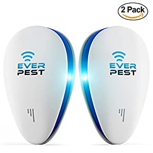 Ultrasonic Pest Mosquito Repellent Plug Control by EverPest - Professional Home (2 Pack) Electronic Indoor Repeller - Repels Away Fleas, Bugs, Rodents, Roaches, Mice, Insect, Ants, Spiders, Rats