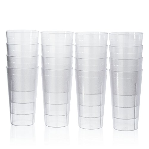 Café Break-Resistant Commercial-Grade Plastic 20oz Restaurant-Quality Beverage Tumblers - Set of 16 Clear