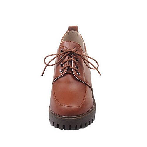 Toe AmoonyFashion Brown High Lace Up Round Heels Shoes Pumps PU Womens Solid TYqrPYBf