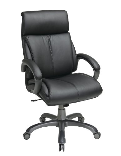 Executive Eco Leather Chair with Locking Tilt Control and Coated Base, Black