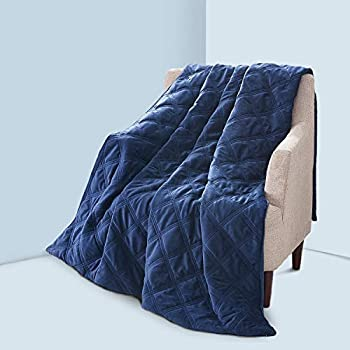 Image of JOLLYVOGUE Weighted Blanket Duvet Cover 60x80Inches, Cozy Soft Removable Minky Dot Cover Machine Washable with Zipper and 8 Ties-Navy Blue JOLLYVOGUE B07M914KN9 Weighted Blankets