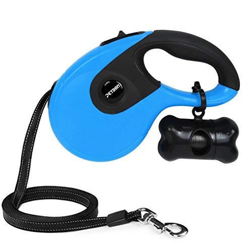 Ribbon Dog Leash - PETDOM Retractable Dog Leash - Heavy Duty Pet Leash for Medium Large Dogs Up to 110 lbs - 16 ft Nylon Reflective Tape, Tangle Free, One-Handed Brake, Pause, Lock - Large (Blue)