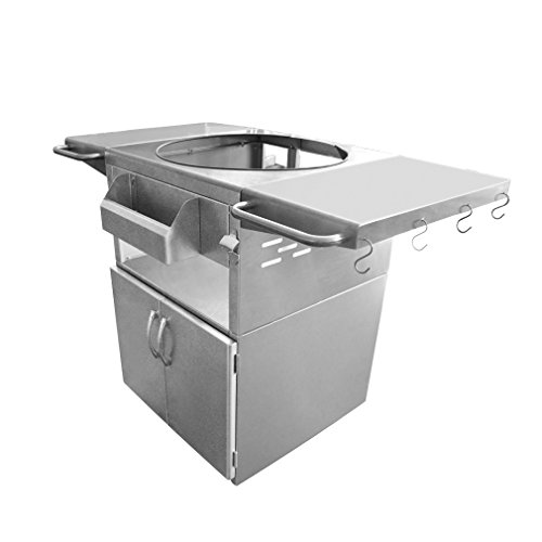 Onlyfire Universal Stainless Steel Grill Cart Table Fit for Kamado Joe Clssic, Large Big Green Egg, Char Grillers, Vision Grills, Broil King, Pit Boss, Grill Dome Infinity and Other Grill