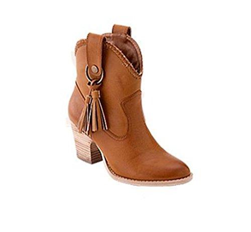 Martin Stivaletti Giallo Kitzen Tacco Boots Tassel Alto Toe Donna Up Lace Round SIawq6d4x