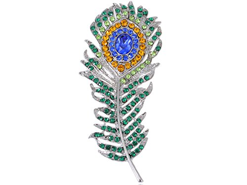 Feather Brooch - Alilang Art Deco Silvery Tone Peacock Feather Pin Brooch With Green Blue & Golden Crystal Rhinestones