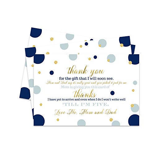 Navy and Gold Baby Shower Thank You Postcard - 15 Cards Only