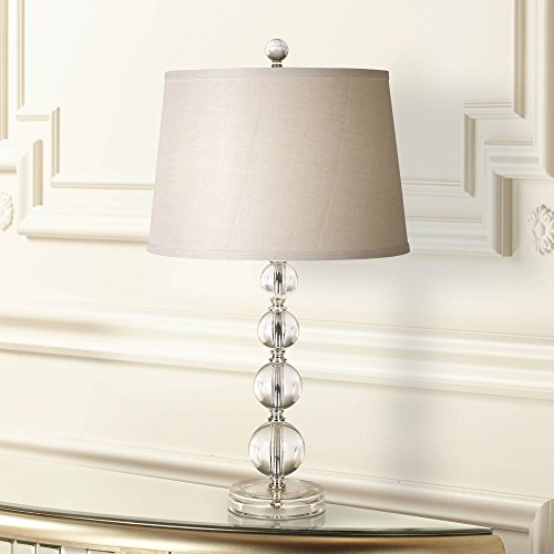 Herminie Modern Accent Table Lamp Stacked Clear Acrylic Ball Open Design Off White Drum Shade for Living Room Family Bedroom - 360 Lighting (Ball Base Table Lamp)