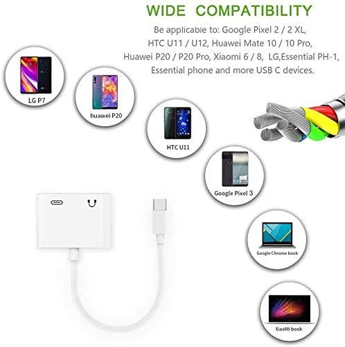 USB C Headphone Audio Jack Adapter,UWECAN 2 in 1 Dual USB C Audio and Charger Adapter Earphone Jack Adapter for Google Pixel 2//2 XL,Pixel 3//3 XL,Huawei Mate 10 Pro//20 Pro and More