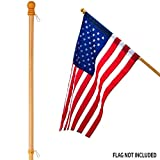 Anley 56'' Pine Wooden House Flag Pole - for Sleeve House Flags (28''x 40'') - Tangle Free Design, Rotating Rings and Anti-Wrap Tube