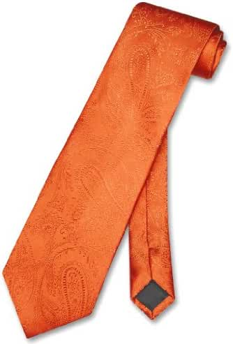 Vesuvio Napoli NeckTie BURNT ORANGE Color Paisley Design Men's Neck Tie