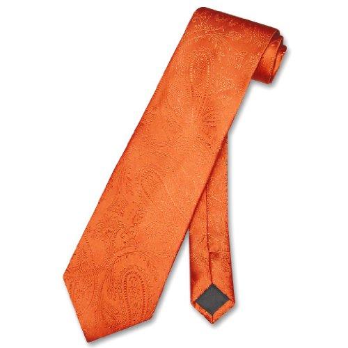 Vesuvio Napoli NeckTie BURNT ORANGE Color Paisley Design Men's Neck Tie
