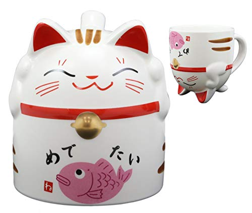 Ebros Gift Topsy Turvy Lucky Cat Maneki Neko With Japanese Calligraphy Of Happiness Ceramic Coffee Latte Espresso Cappuccino Tea Mug Drinking Cup 10oz Home Kitchen Decor Collectible (Pink Fish Belly)