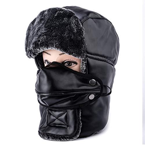 Mocofo Trooper Trapper Hat Tactical Balaclava Winter Leather Windproof Ski Mask Ushanka Hat with Ear Flaps and Warm Hunting Shearling Sheepskin Aviator Russian Winter Fur Hat for Men Women (Black)