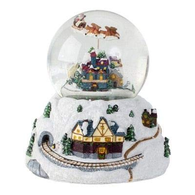 Minium Collection Boule /à Neige de No/ël avec Horloge tournante et LED 120 mm