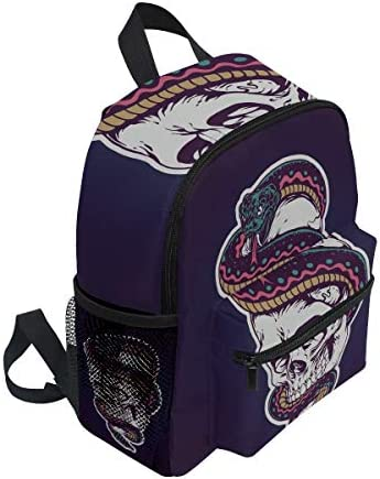 パープルスカルヘビ幼児就学前のバックパック本袋ミニショルダーバッグリュックサック通学用1-6年旅行男の子女の子