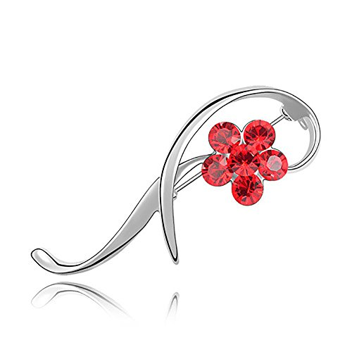 VEINTI+1 Delicate Plum Flower SWAROVSKI Elemental Crystal Women's Elegant Brooch Pin (Silver+Red)
