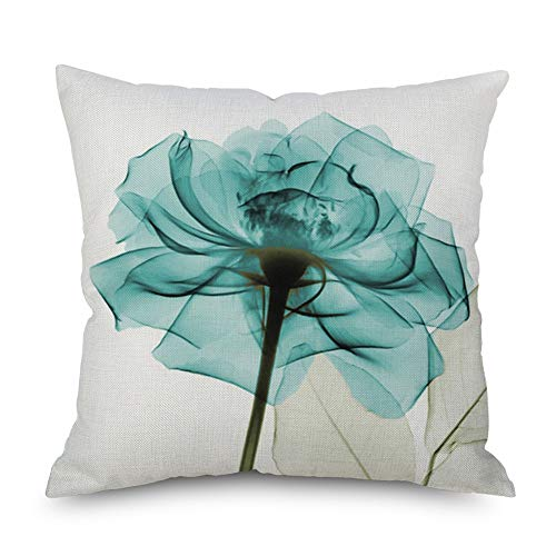 - Throw Pillow Cover Decorative Durable Cushion Cover 18 x 18 Pillow Case Beautiful Flower Tulip Watercolor Vibrant Teal Color Hidden Zipper Home Decor Fall Winter Sofa Couch Bedroom Living Room