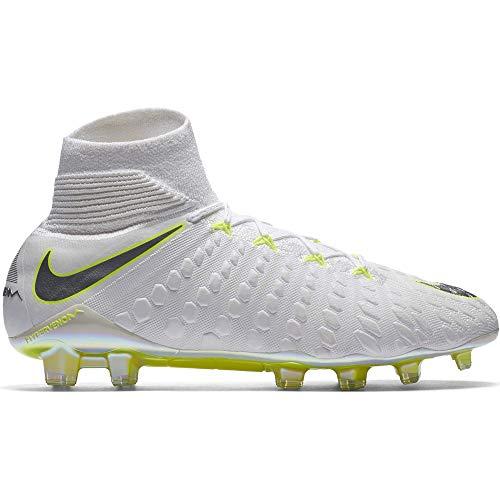 Nike Men's Hypervenom 3 Elite DF FG White/Chrome/Volt (8.5)