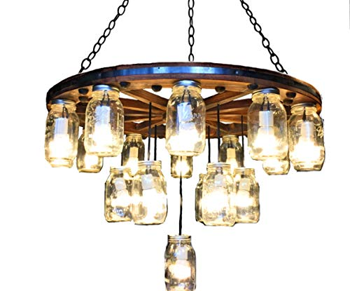 36 inch Deluxe 3 Tier Knotted Wagon Wheel Chandelier
