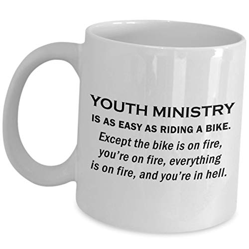 Youth Pastor Mug Appreciation Gifts - Ministry Is As Easy As Riding A Bike - Funny Cute Gag Coffee Tea Cup Bible Study Class Minister Faith Program Group Religious Organization Group Leader Ministries