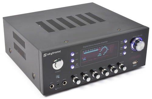 Skytronic AV-120FM Stereo HiFi Verstärker Karaoke Receiver (USB-MP3-Slot, 120W RMS, 2 Mikrofon-Eingänge, UKW-Radio) schwarz 2 Mikrofon-Eingänge Karaoke Amplifier
