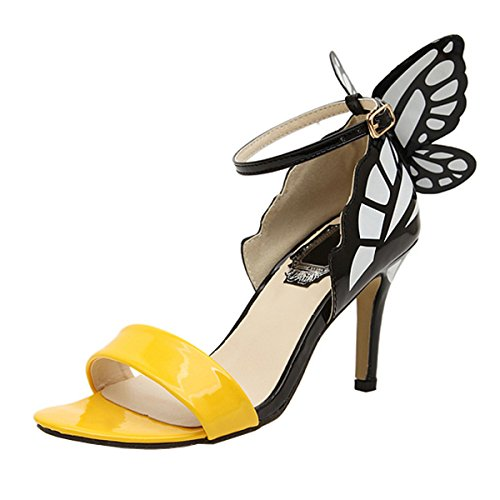 Harshiono Womens Patent Leather Toe Opened Butterfly Sandal High Heels Shoes (US 6 / EU37, Yellow) ()