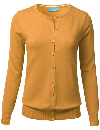 FLORIA Women's Button Down Crew Neck Long Sleeve Soft Knit Cardigan Sweater Mustard L