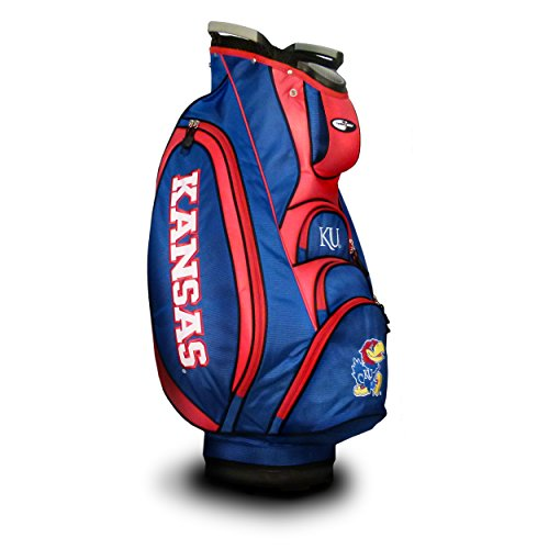 (Team Golf NCAA Kansas Jayhawks Victory Golf Cart Bag, 10-way Top with Integrated Dual Handle & External Putter Well, Cooler Pocket, Padded Strap, Umbrella Holder & Removable Rain Hood)
