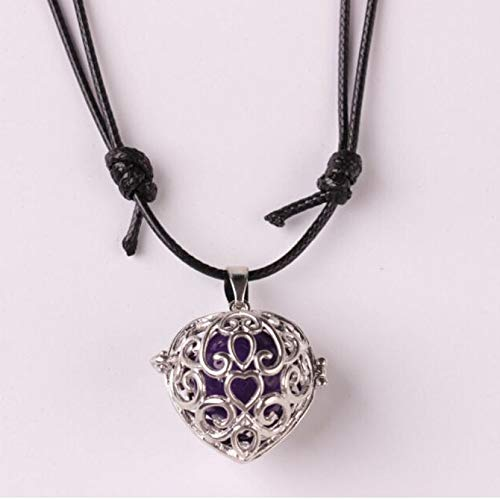 Vintage Locket Necklace,Haluoo Retro Women Music Chime Locket Chain Ladies Harmony Ball Necklace Classic Openwork Carved Heart Pendant Necklace Popular Music Ball Necklace for Pregnant Women (Black)