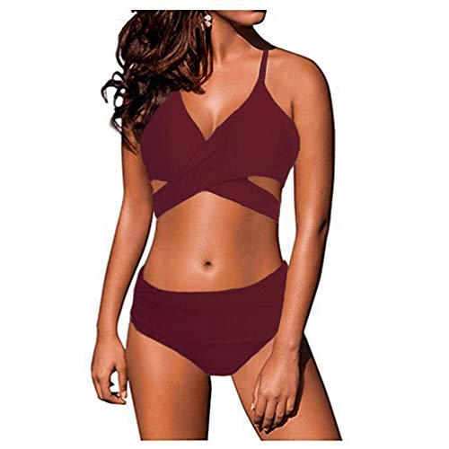 Hipster Suits Bathing - Marosoniy Womens Teen Fashion Floral Printing Cross Wrap Bandage Halter Bikini Set Bathing Suits Two Pieces Swimsuit (L US (6-8), Wine Red)