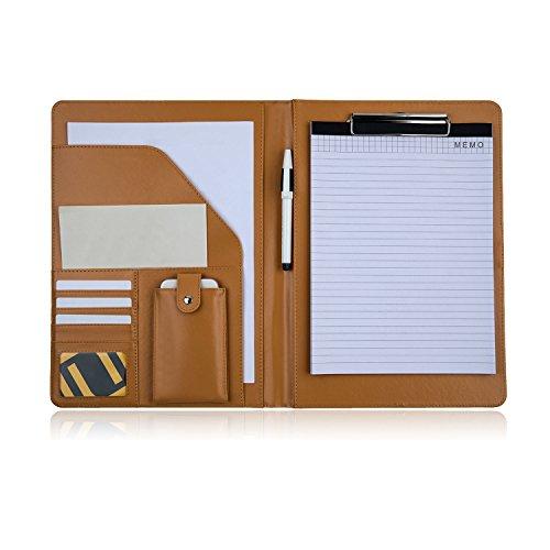 PREMIUMAX Leather Business Padfolio Portfolio Presentation Folder Interview Resume Document Organizer with Bonus Memo Magnetic Closure (Brown) by PREMIUMAX